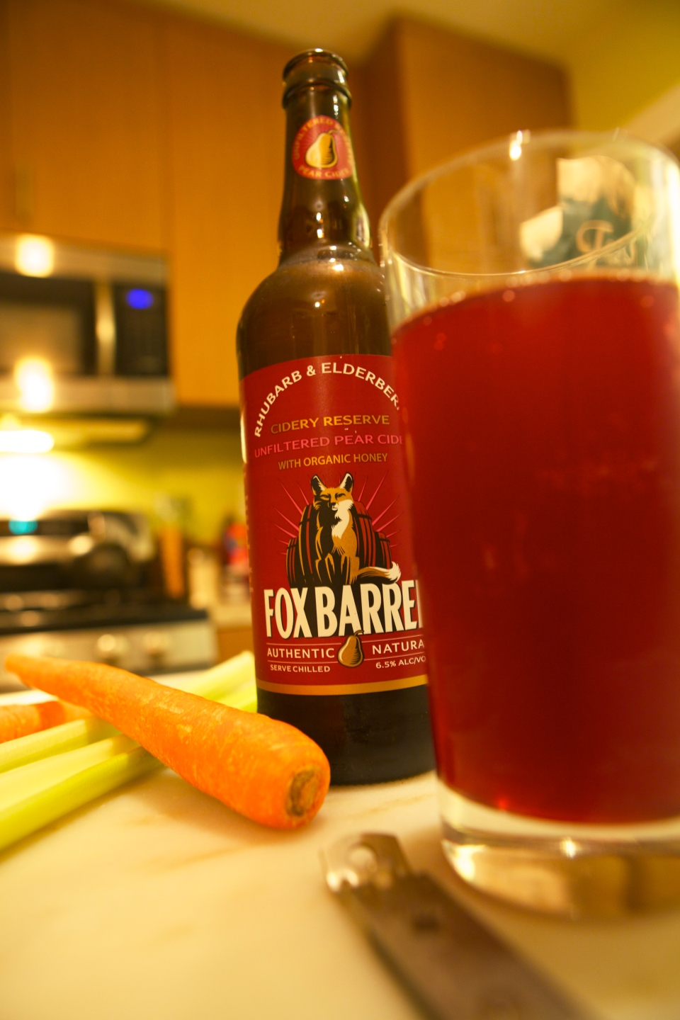 Fox Barrel Pear Cider with Rhubarb and Elderberries